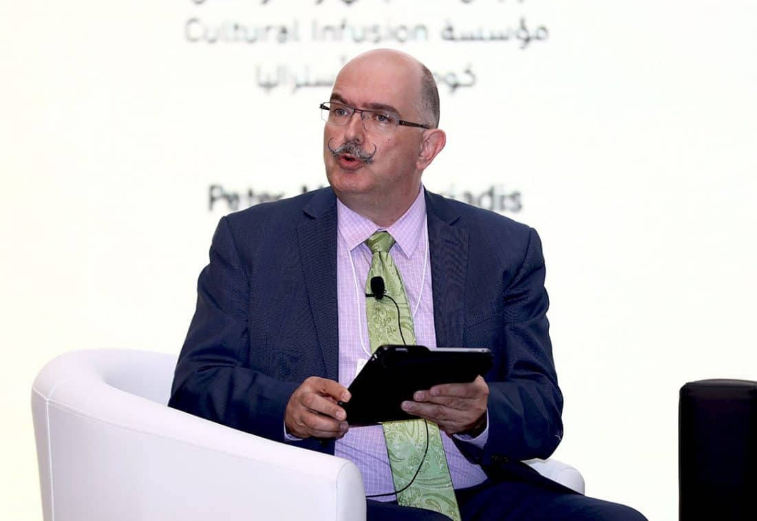 Peter Mousaferiadis speaking at the 2019 World Tolerance Summit.